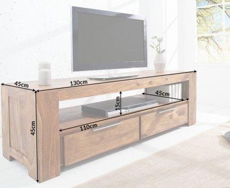DOSTAWA GRATIS! 11260723 Stylowy stolik TV Makassar 130cm (kolor: naturalne drewno)