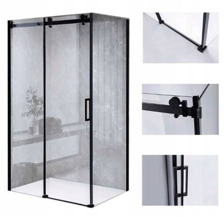 HYDAR Kabina Prysznicowa Czarna 110x90 SZKŁO 8MM 23178230