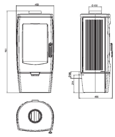 TOPSTOVE Piec kominkowy żeliwny koza 8kW + system doprowadzenia powietrza (średnica wylotu spalin: 150 mm) - spełnia anty-smogowy EkoProjekt 58477269